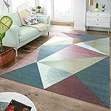 Tapis Moderne Salon Tapis Motif Trapèze Couleurs Pastel Multicolore, Dimension:160x220 cm