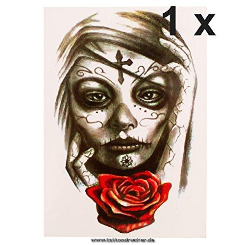 tenkopf Rose Tattoo - Fake temporäres einmal Körpertattoo HB107 (1) (Halloween Fake Tattoos)