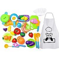 Harxin Alimentos de Juguete 28 Piezas Cortar Frutas Verduras Temprano Desarrollo Educación Bebé Niños Traje de