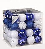 64x Kunststoff Christbaumkugeln Ø 6cm Kugel Box Glanz Glitzer Matt Dekor Inge, Farbe:Blau-Weiß