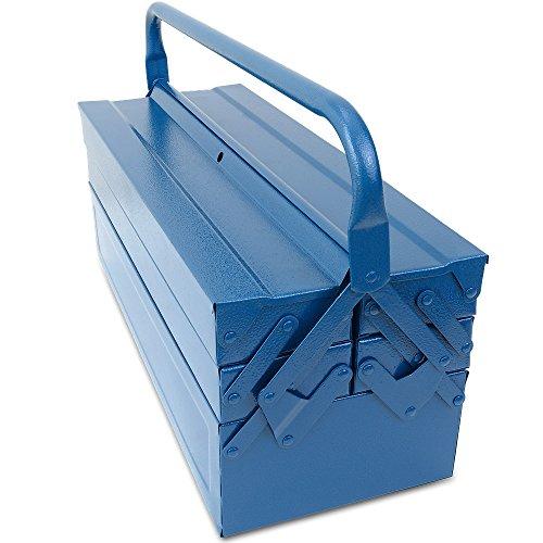 Werkzeugkoffer leer groß ✔ Stahl ✔ 5-teilig ✔ Deuba® - Werkzeugkasten Werkzeugbox Werkzeugkiste Werkzeug Montage Koffer - blau - 580x220x210mm - 6