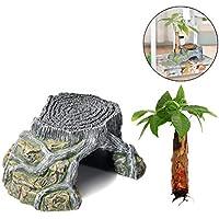 Yying Isla de la Tortuga Flotante Reptil Turtle Basking Escalada Plataforma Acuario Decoración Cueva Ocultar Resina y árbol para Repitle Tortuga Casas