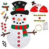 Smart Nice Feltro Albero Natale in Velcro,3.28ft della Feltolta di DIY con 33 Ornamenti Staccabili Regali di Natale Nuovo Anno Decorazione della Parete del Portello dei Bambini (Felt Snowman)