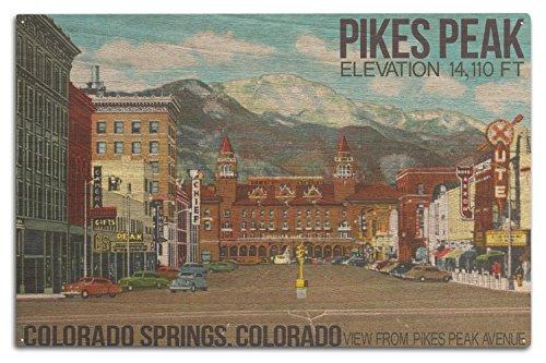Colorado Springs, Colorado-View Spieß von Peak Spieß aus Peak Ave, holz, mehrfarbig, 10 x 15 Wood Sign -