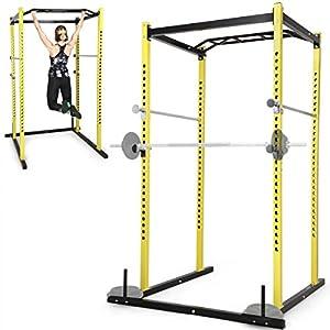 Physionics Power-Cage | Langhantel- und Hantelscheibenständer + Klimmzugstange, Klimmzüge/Kniebeuge/Kreuzheben/Bank- und Schulterdrücken | Kraftstation, Fitnessstation, Squat-Rack