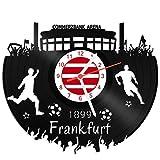 GRAVURZEILE Schallplattenuhr Frankfurt - 100% Vereinsliebe - Upcycling Design Wanduhr aus Vinyl Made in Germany