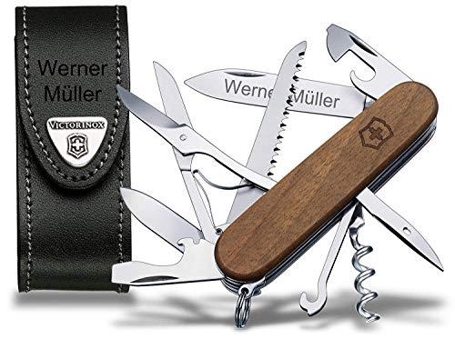 Victorinox Huntsman Wood (1371163) Taschenmesser Set, inkl. Lederetui und Wunschgravur
