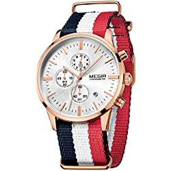 Megir Men Casual Luminous Canvas Strap Quartz Wrist Watch