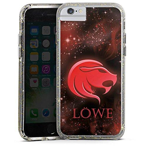 Apple iPhone 6 Bumper Hülle Bumper Case Glitzer Hülle Lion Sternzeichen Sterne Bumper Case Glitzer gold