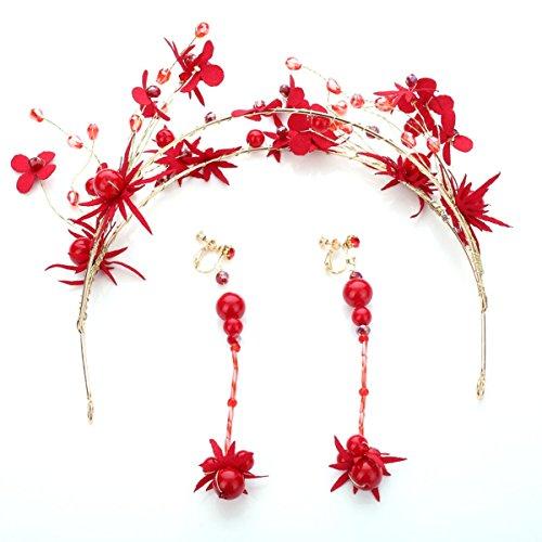 LBTSQ-Seide Blumen Handgemachten perlen-Ohrringe Kopfbedeckung kit Braut-Kleider Kleider und Accessoires. (Seide Blume-kit)