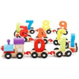 #5: Wooden Number/Digital Train Blocks Set Toys for Kids and Toddlers,Best Educational Set of Trains with Fun and Colorful 0-9 Number Figures Railway Model Toys for Boys & Girls Christmas Gift