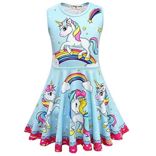 Prinzessin Kleid Kinder Regenbogen Party Sommer Halloween Casual,Blue,100cm ()