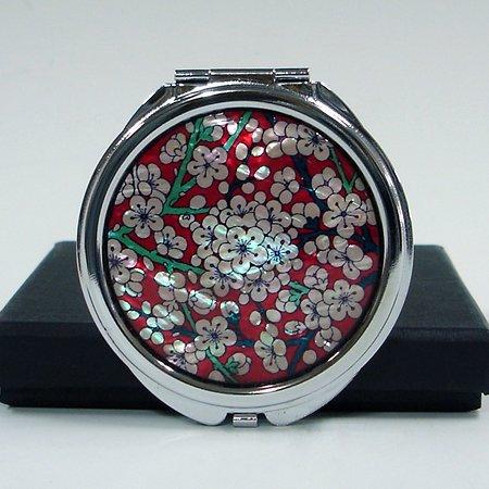 Nacre Rouge Blanc Fleur double Compact Cosmétique Miroir de poche rond en métal avec miroir de Motif