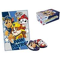 Set manta + pantuflas Patrulla Canina Paw Patrol caja metalica