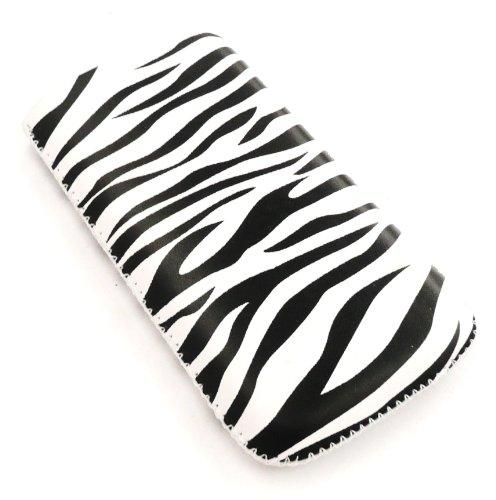 Apple Iphone 3g-zebra (Emartbuy® Value Pack für Apple iPhone 3G / 3GS Zebra Schwarz/Weiß Premium-PU-Leder-Tasche/Case / Sleeve/Halter (groß) mit Pull Tab Mechanismus + Kompatibel Kfz-Ladegerät + LCD displayschutz)