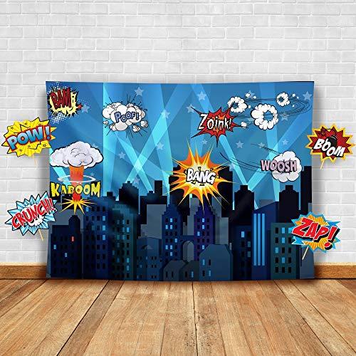 Superhero Fotohintergrund und Studio-Requisiten Fotohintergrund, ideal als Superhelden-Stadt, für Geburtstagspartys und Events, - Party Stadt Von Kostüm