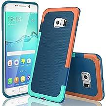 Funda Samsung Galaxy S6 Edge, HanLuckyStars, TPU Funda Carcasa para Galaxy S6 Edge, Carcasa Galaxy S6 Edge Funda con [Ultra Fina][Anti-Arañazos][Anti-Choques][Garantía de por vida](Azul)