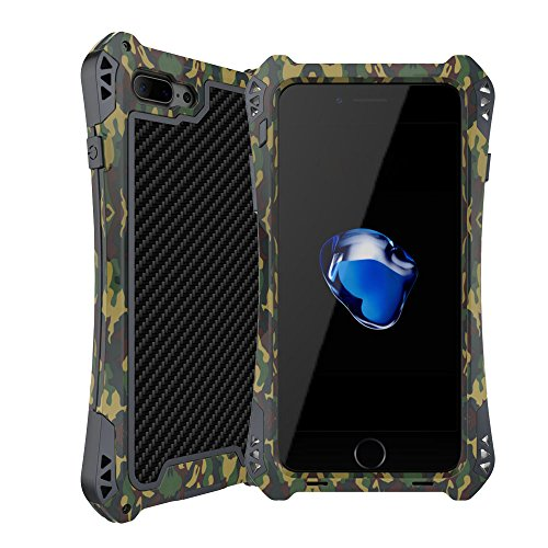 iphone 7 7S Plus Hülle, iPhone 7 7S Plus Metal Case, Feitenn Armor Aluminium Metall Schutzhülle Military Heavy Duty Cover Hard Fall Back Cover Outdoor Bumper Case für Apple iphone 7 7S 7+ (Camo) Camo Farbe