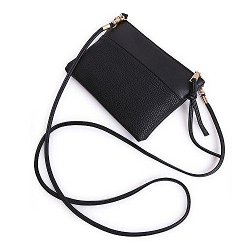 Frauentasche URSING Mode Handtasche aus Leder Damen Schultertasche Große Tasche Ledertasche Daypack Abendtasche Geldbörse Freizeittasche Umhängetasche Shoppingtasche (Schwarz)