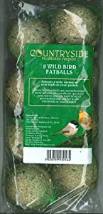 8 Pack Wild Bird Food Fat Balls Suet Dumplings Highly Nourishing Ingredients from Countryside Feathered Friends