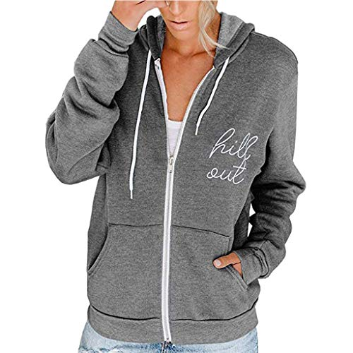 Toasye Hill Out Frauen Casual Langarm Zip Pocket Kapuzenpullover Jacke Kapuzenvlies Langarm Lose Lässige Zip Pockets Solid Jacket Coat Mode Pullover Sweatshirt Windjacke Kapuzenpullover -
