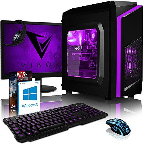 VIBOX Pyro GG150-58 Pack PC Gamer - 2,8GHz CPU Dual Core Intel Celeron, GPU GTX 1050, Avancée, Multimédia, Haute Performance, Pascal, Ordinateur PC de Bureau Gaming paquet de jeux, avec Écran, Windows 10, Éclairage Interne Vert (2,8GHz Processeur CPU Dual Core Intel Celeron G1840 Ultra Rapide, Carte Graphique Avancée Nvidia GeForce GTX 1050 2 Go, 8 Go Mémoire RAM DDR3 1600MHz Grande Vitesse, Disque Dur Sata III 7200rpm 2 To (2000 Go), PSU 85+, Boîtier Gamer CIT Storm Vert)