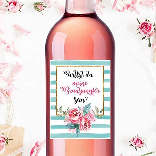 Flaschenetikett Brautjungfer für Freundin - Schwester - Hochzeit - 9x12cm wasserdichte Folie für Weinflasche - Sektflasche