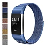 Fitbit Charge 2 Accessory Band, Milanese Loop Stainless Steel Bracelet Strap Replacement Wristband with Unique Magnet Lock for Sport Fitness Tracker Fitbit Charge 2 Heart Rate, Blue (Size L)