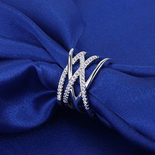 (HJWMM Herzförmiger Weiblicher Ring, Einfacher Europäischer Und Amerikanischer Diamantring Mittelfinger Zeigefingerring,Silver)