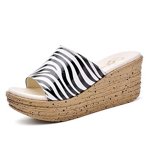 SHANGXIAN Sommer lässig Plattform Hausschuhe Frauen im Freien Bequem und atmungsaktiv Zebra-Druck Keil Sandalen Flip Flops,39 Zebra Wedge Flip Flop