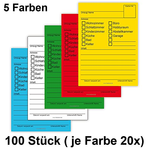100 Stück Umzugsetiketten mehrfarbig - 2