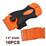 "Ehdis® Car Sticker Remover Plastic Blade Triumph 1.5"" Scraper with 10 PCS Plastic Razor Blade Edges for Removing Label Glue Residue on Soft Surface NO Scratched"
