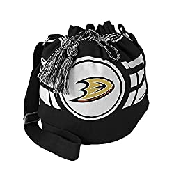 NHL Anaheim Ducks Womens NHL Ripple Drawstring Bucket Bag, black, 12