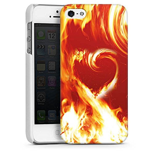 Apple iPhone 5s Housse Étui Protection Coque Feu Amour Amour CasDur blanc