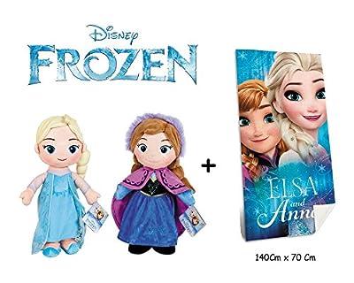 Disney - Frozen - Set de 2 Peluches Elsa y Anna 32 Cm Calidad Super Soft + Toalla de Playa Frozen 140x70Cm 100% algodón por Fr