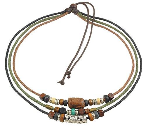 Ancient Tribe Unisex cáñamo Ajustable Cuerdas Cuentas de Madera Cuentas Surfista Gargantilla Collar