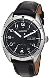 Seiko Men's Japanese Automatic Stainless Steel and Leather Casual Watch, Color:Black (Model: SRP715)