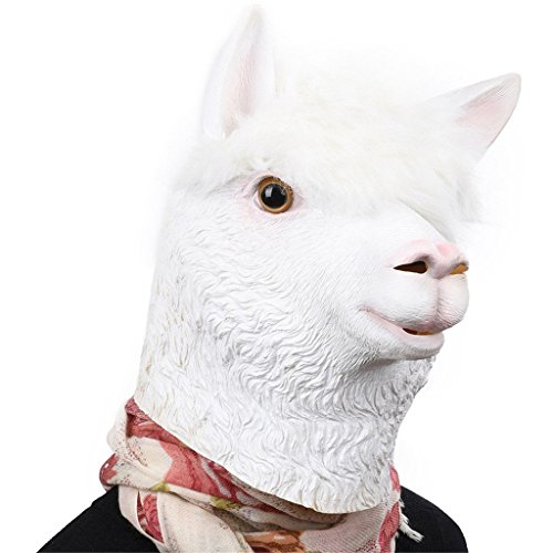 Auspicious beginning Alpaca Latex Kopf Neuheit Kostüm Party Maske, Tier Kopf Maske (Schwarzes Schaf Kostüm Kleinkind)