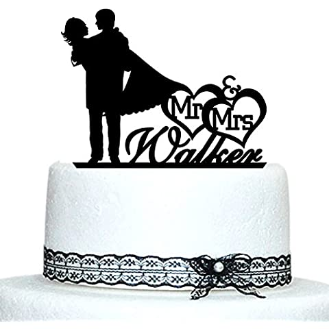 Buythrow Personalized Name Wedding Cake Toppers Silhouette Bride and Groom Mr and Mrs Cake Toppers 2 Hearts by buythrow cake