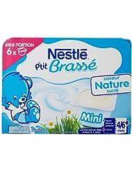 Nestlé Bébé P'tit Brassé Mini Nature Sucré Laitage dès 4 Mois 6 x 60 g