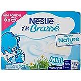 Nestlé Bébé P'tit Brassé Nature Sucré - Laitage dès 6 Mois - 6 x 60g - Lot de 8