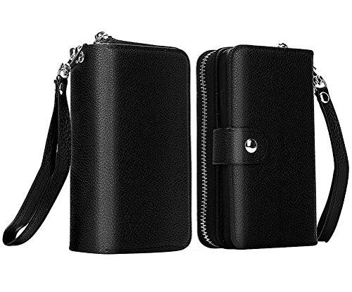 Samsung Galaxy S5Case, Samsung Galaxy S5Leder Case, Zipper Magnetischer Wallet Fall Wristlet Flip Cover Holster Schutz, schwarz - Sprint Samsung S5