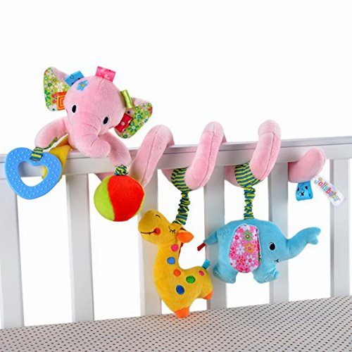 Elefante da neonato Baby Activity Spiral Bed &-Giocattolo da appendere, Trillino Bell-Giocattolo per culla, colore: rosa
