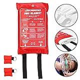 Amazy Löschdecke (XL| 1,2 x 1,2 m) inkl. Schutztasche und 2X CPR Beatmungsmaske zur Ersten Hilfe – Brandschutzdecke nach DIN EN 1896 zum Löschen von Entstehungsbränden | Anleitung in 5 Sprachen