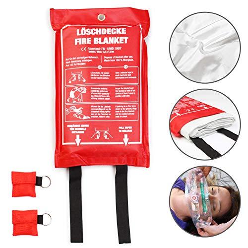Amazy Löschdecke (XL | 1,2 x 1,2 m) inkl. Schutztasche und 2X CPR Beatmungsmaske zur Ersten Hilfe - Brandschutzdecke nach DIN EN 1896 zum Löschen von Entstehungsbränden | Anleitung in 5 Sprachen
