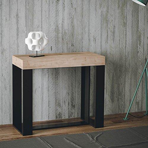 Group Design Konsolentisch Ausziehbar Made in Italy Futura Eiche Natur mit Keilrahmen Anthrazit 14Sitzer 3Meter