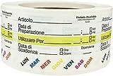Solubile Vita Alimentare Rotazione Preparazione Utilizzare Per Adesivi con Testo Italiano, 51 x 76 mm 2 x 3 cm di Larghezza, 500 Etichette su Rotolo