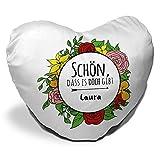 Herzkissen mit Namen Laura und schönem Spruch - Schön , dass es dich gibt - für Verliebte und Freunde zum Valentinstag | Herz-Kissen | Kuschel-Kissen | Schmuse-Kissen