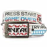 Game Over Kunstleder Gürtel Gr. xs, Weiß - Cracked White