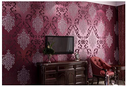 Moderne Vliestapete, Minimalistische Designs für Wohnzimmer Schlafzimmer Art Deco, 0.5x 10 m, Dreidimensionales Relief, Lila (Schwarz Tapete Und Creme)